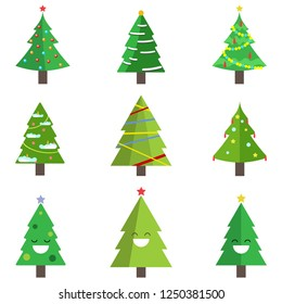 Set of christmas tree with garland, toy, snow isolated on white background. Merry xmas, happy new year concept. Vector cartoon design for greeting card.