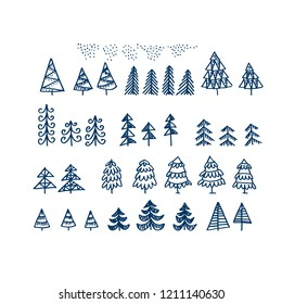 Set of Christmas tree isolated on a white background. Holiday naive Christmas trees for card, scrap booking, invitation.