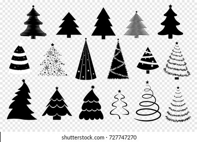 set of christmas trees displayed on a transparent background. collection of vector christmas decoration elements