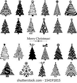 Set of  Christmas Trees isolated on White background. 23 designs in one file.  Vector illustration