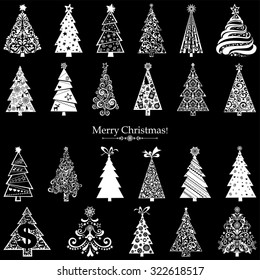 Set of Christmas Trees isolated on black background. 23 designs in one file. Vector illustration