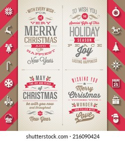 Set of Christmas type designs and flat icons with long shadow - vector holidays illustration