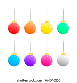 Set of Christmas Vector Balls Isolated on White Background. Cartoon Hand Drawn Xmas Ball Toy Icons in Different Colors. Christmas Collection for Design. Flat Vector Illustration.