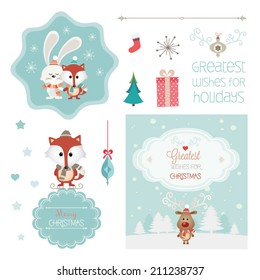 Set of christmas vector elements, vintage banner, ribbon, labels, frames, badge, stickers. Vector Christmas element. New Year. Ornaments and decorative element