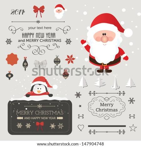 Set Christmas Vector Elements Vintage Banner Stock Vector (Royalty ...