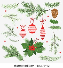Set of Christmas vector  graphic elements