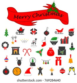 Set of Christmas vector icons. Flat colored Cristmas icons. Vector Illustration. Premium quality graphic design collection icons for websites, web design, mobile app on white background