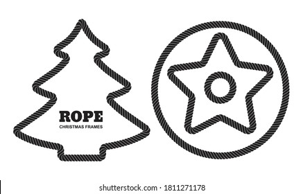 Set of Christmas vector rope borders or cordage frames isolated. Decorative twisted jute frames with Xmas tree, round frame, star