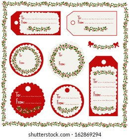 A set of Christmas vintage tags in red, white & green