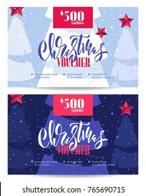 Set of christmas voucher templates. Beautiful winter background with snowflakes and christmas trees. Voucher discount. Vector illustration