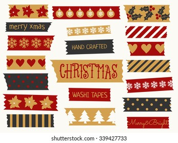 A set of Christmas washi tape strips in red, black and gold. Decorative strips with traditional Christmas elements: baubles, trees, snowflakes, etc.