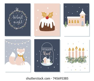 Set of Christmas and Winter Holidays Cards. Advent Wreath, Church and Lettering Signs. Vector Illustration