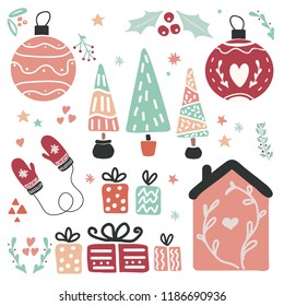 Set of Christmas and winter holidays objects. Home, Christmas tree, ball, gift box,mittens, florals. Hand drawn illustration in scandinavian style