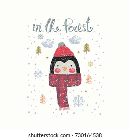 Set of Christmas Woodland Cute Penguin , Forest Animal ,Can be used for baby t-shirt print, fashion print design, kids wear, baby shower celebration greeting and invitation card.