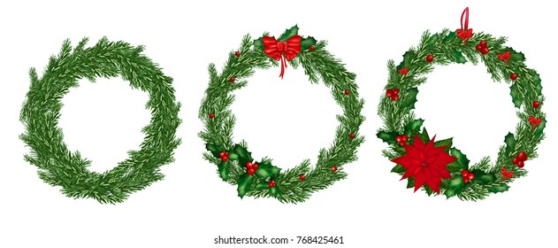 Set of christmas wreath.