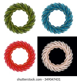 Set Christmas wreath. Blue ornament for xmas. Red garland of pine branches. White decor for new year.