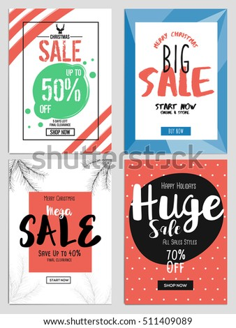 set chritmas sale flyer template websites stock vector royalty free