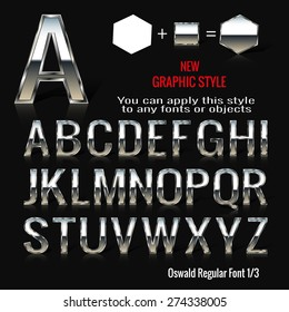 Set of chrome letters and chrome graphic style. You can apply this style to any fonts and objects, vector. EPS 10.