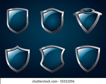 A set of chrome metallic mediavel shields.