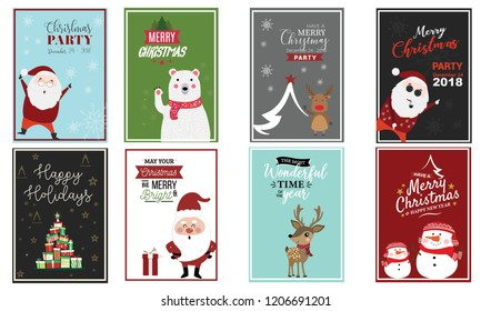 Set of Chrsitmas flayer design template, vector ilustration