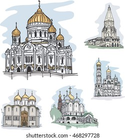 Set of churches in Moscow, Russia: Christ the Savior Cathedral, Church of Ascension in Kolomenskoye, Assumption Cathedral and Ivan the Great Belltower in Kremlin, Cathedral at Novodevichy Convent.