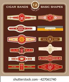 A Set Of Cigar Band Design Templates