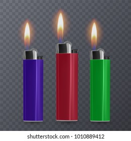 Set of cigar lighters in transparent background, vector eps 10 illustration