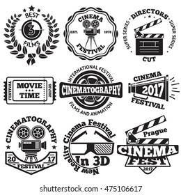 Set of Cinema badges with camera, clapboard, ticket etc. Vector
