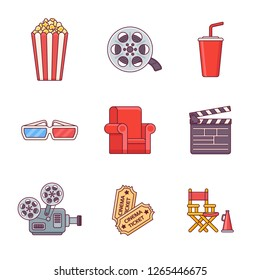 Set of cinema flat line icons. Vector illustration.