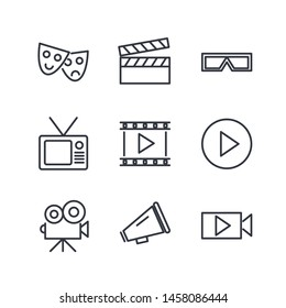 Set of Cinema Icon Related Vector Line. Contains such Icons as Movie Clip, Popcorn, Tickets, Film, video, shooting, editing and more.