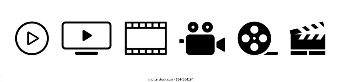 Set of cinema icons, film, camera, monitor vector illustration