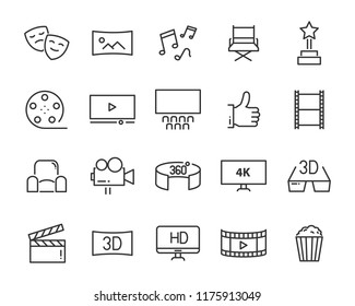 set of cinema icons, such as 4k, music, movie