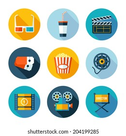 Set of cinema icons. Vector cinema and movie stuff in flat modern style.