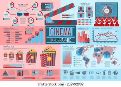Set of Cinema Infographic elements with icons, different charts, rates etc. Vector