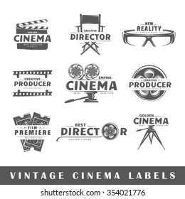 Set of cinema labels. Elements for design on the cinema theme. Collection of cinema symbols. Modern labels of cinema. Emblems and logos of cinema. Vector illustration
