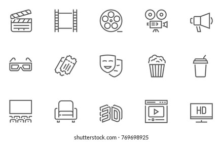 Set of Cinema, Movie and Entertainment Vector Line Icons with Movie Theater, Film Strip, Popcorn, Video Clip, 3d Glasses and more. Editable Stroke. 48x48 Pixel Perfect.