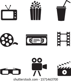 Set of cinema and movies related line icons vector in black color