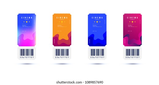 Set Cinema ticket realistic isolated on white background with shadow. Flat vector illustration EPS 10.