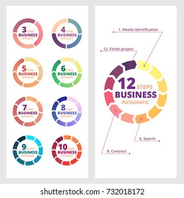 Set of circle arrow diagram for business. Infografic process template. Vector illustration isolated on a gray background.