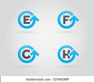 Set of Circle Arrow Logo Icon Design with Letter. Template Element in Vector.