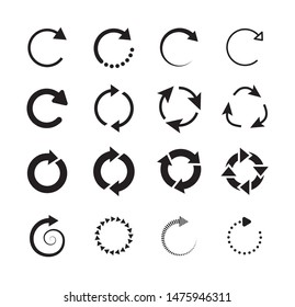 Set of circle arrows. Circled cursor web recycling progress buttons vector isolated icons. Round arrow refresh reload rotation loop sign set. Simple web icon on white background.