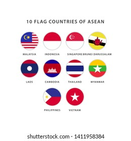 set circle asean flag vector template. Design for banner, greeting cards or print.