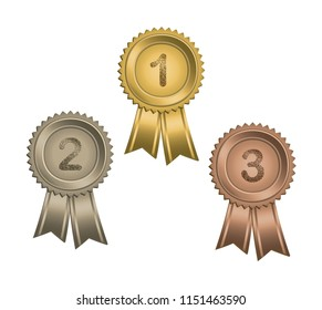 Set of circle awards with ribbons and numbers.