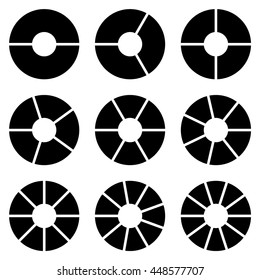 Set of circle chart isolated in white background. business chart and infographic elements