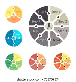 Set of circle diagram for business. Infografic process template. Vector illustration isolated on a gray background.