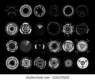 Set circle elements in a futuristic (HUD) style.Interface Device: Radars, crosshair, aim, turbojets, hours, mechanisms. Vector set elements HUD, UI, FI, SCI, GU