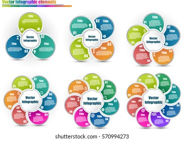 Set of circle infographic templates same style with 3-8 steps and central element. Parts of the chart  with icons and numbers. For presentation and design concept. Vector illustration.