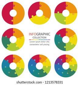 set of circle jigsaw infographic