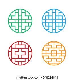 Set of Circle Korean pattern window frame, vector