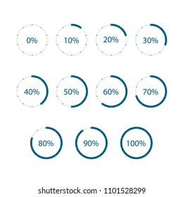 Set of circle loading or progress percentage. Infographics design elements. Blue colour.